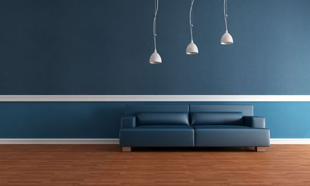 blue leather sofa: elegant blue interior with parquet floor and modern leather couch - rendering