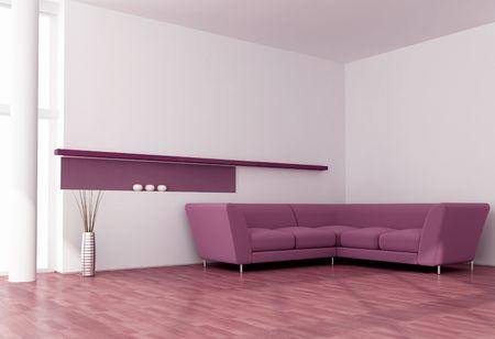 minimalist purple and white living room - rendering photo