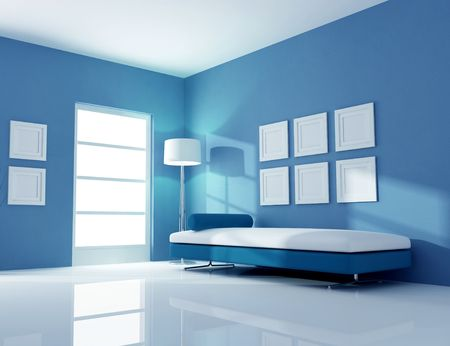 blue inter with fashion couch - rendering Stock Photo - 5874061