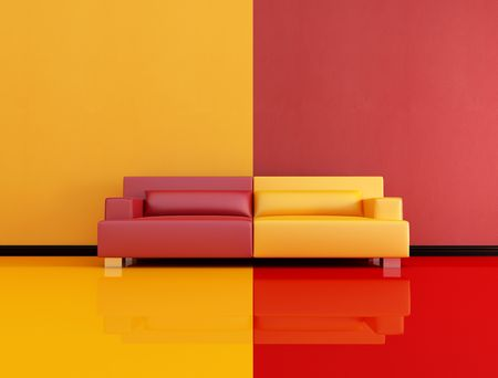 red and orange interior with leather sofa - rendering photo