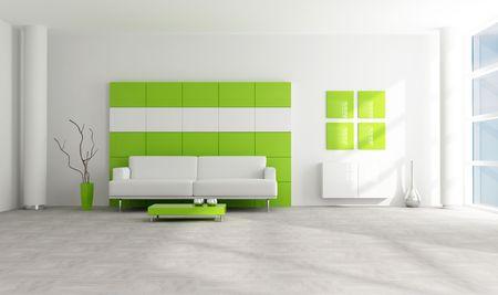 bright green  and white minimalist interior - rendering photo