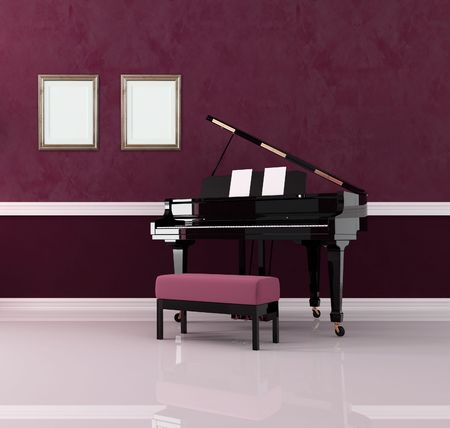 old room: grand piano in purple luxury interior - rendering Stock Photo
