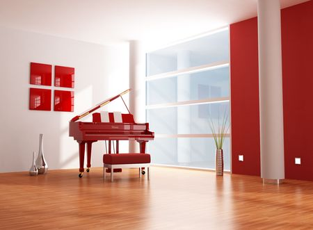 grand piano: red grand piano in a minimalist red and white living room