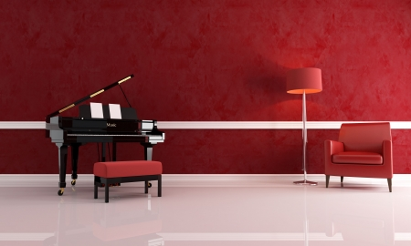grand piano in a red living room with leather armchair and modern floor lamp Stock Photo - 5909477
