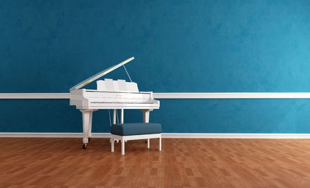 white grand piano in a blue room - rendering photo