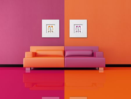 living room in po-art style, the image on wall are my rendering composition Stock Photo