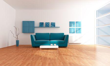 bright modern blue living room - rendering photo