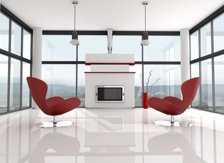 glass holiday villa with modern fire place - rendering, the image on background is a my photo photo