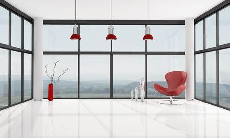 panoramic windows: red armchair in a glass house - rendering , the image on background is a my photo