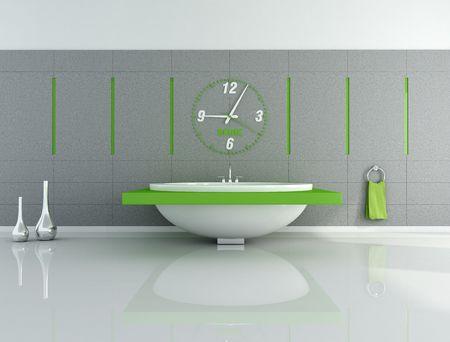 modern bathroom with big clock and fashion bathtub - rendering photo