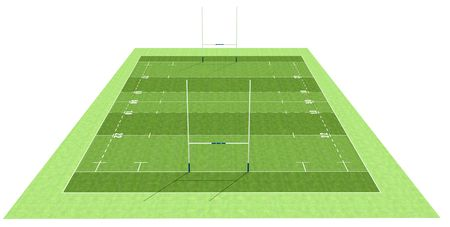 rugby team: high definition of a rugby field - rendering