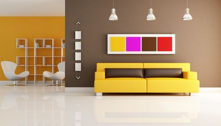 modern interior with leather sofa and reading room Stock Photo - 6060592