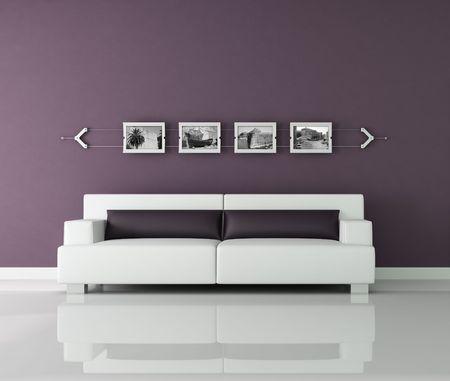 interior de color p�rpura y blanco con im�genes de fotograma y la negra y la contundencia de fotograf�a contempor�nea - las im�genes de pared son mi foto  Foto de archivo - 6060588
