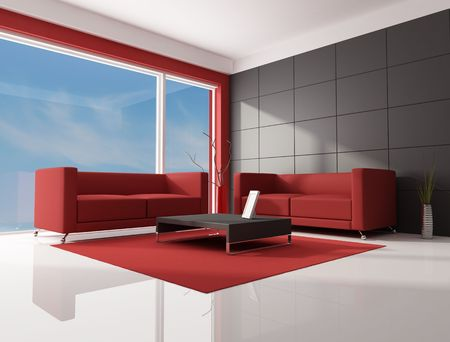 two red modern sofa in a contemporary lounge - rendering-the image on background is a my photo photo