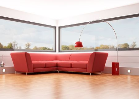 modern living room with red velvet sofa and big windows - rendering - the image on back ground is a my photo Stock Photo - 6104183