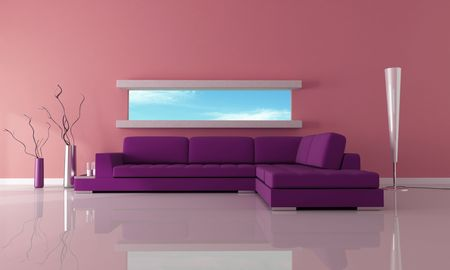 purple with narrow horizontal window-rendering-the image on back ground is a my photo Stock Photo - 6104184