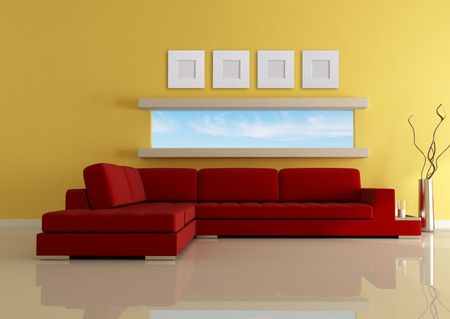 modern living with narrow horizontal window-rendering-the image on back ground is a my photo Stock Photo - 6104181