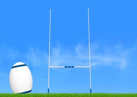 rugby team: rugby goal post and ball on green-the image on back ground is a my photo Stock Photo