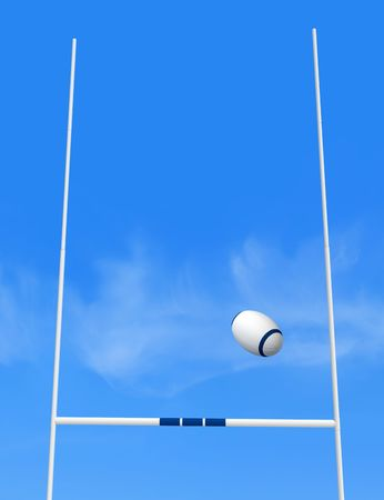 rugby team: rugby goal post and ball against blue sky - the image on back ground is a my photo