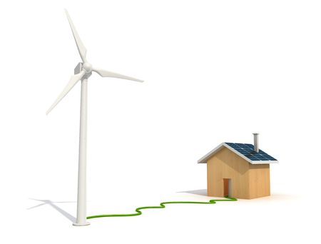 conceptual -wind turbine provides energy to a eco house  Stock Photo - 6129364