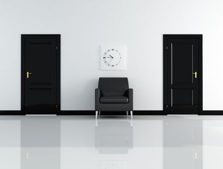 two door and leather armchair in a black and white inter - rendering Stock Photo - 6129365