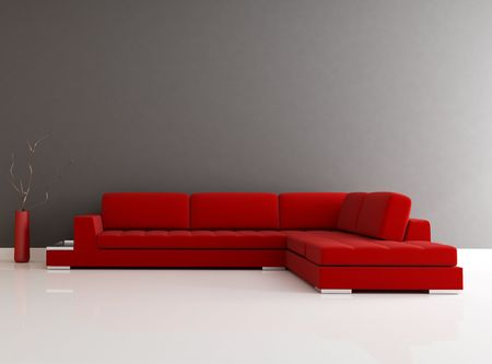 red velvet sofa in a minimalist lounge - rendering