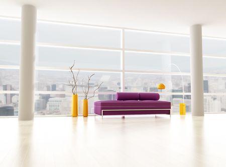 minimalist city interior - rendering - the image on background is a my photo - new york april 2009 Stock Photo - 6187137