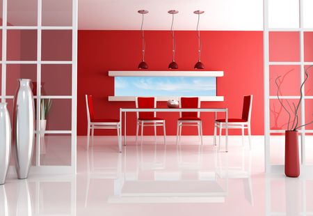 contemporary red dining room - rendering - the image on background is a my photo Stock Photo - 6193338