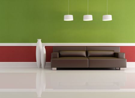 green red and brown living room - rendering Stock Photo