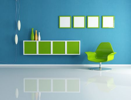 modern interior with green fashion armchair - rendering Stock Photo - 6261155