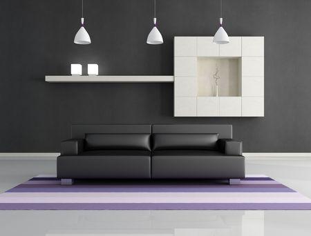 minimalist black and white interior  - rendering Stock Photo - 6261177