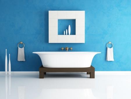 cuarto de ba�o: Retro ba�era en un ba�o azul moderno - representaci�n Foto de archivo