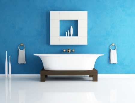 bathroom interior: retro bathtub in a modern blue bathroom - rendering