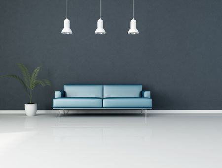 blue minimalist interior with modern couch and plant - rendering photo