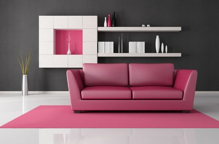 pink and black modern lounge - rendering Stock Photo - 6261175