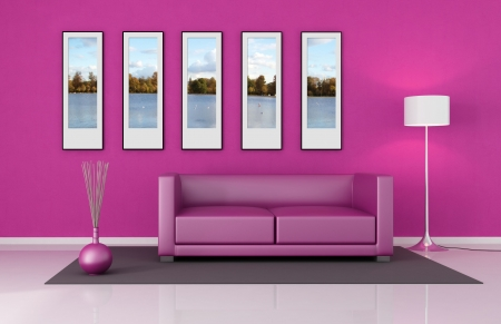 pink living room with leather couch and picture frame-the images on wall are my photo,central park London Stock Photo - 6261184