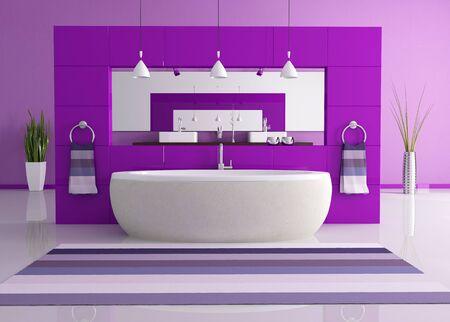 bathroom wall: purple contemporary bathroom