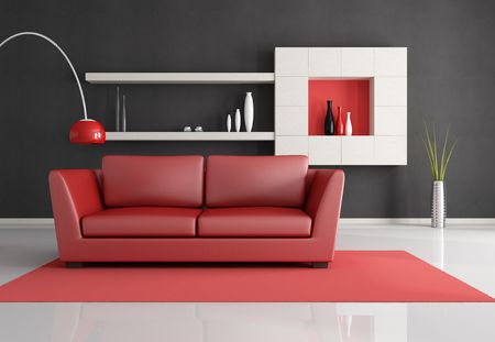 modern sofa: minimalist black white and red lounge - rendering Stock Photo