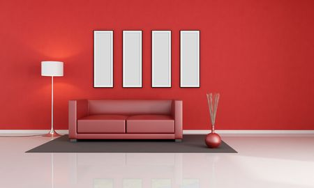 red modern living room with empty picture frame - rendering Stock Photo - 6261191
