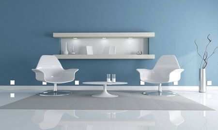 two white fashion armchair in a clear blue living room- rendering Stock Photo - 6294903