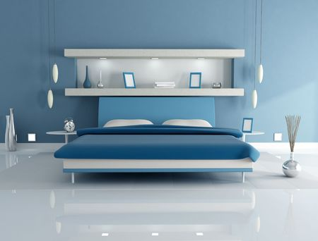 bedroom wall: leather double bed in a blue bedroom with niche - rendering