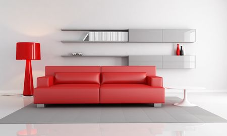 minimalist interior with red leather sofa fashion floor lamp - rendering Stock Photo - 6294906