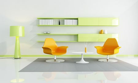 fray: two orange fashion armchair in a fray and green living room - rendering