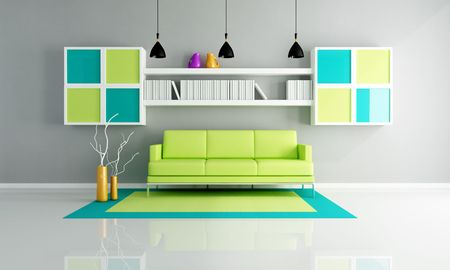 green sofa on colored carpet in a contemporary lounge - rendering photo