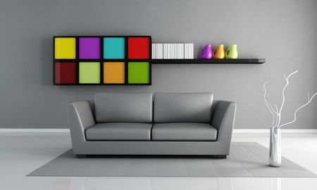 gray leather couch and colored cabinet in a minimalist living room - rendering photo