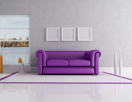 contemporary interior with purple classic sofa - rendering. the image on background is a my photo Stock Photo - 6343795