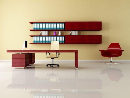 caoba: espacio de oficina minimalista con elegante escritorio - representaci�n