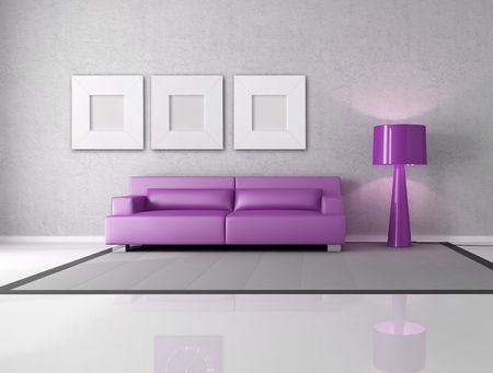 minimalist gray and purple living room with fashion lamp Stock Photo - 6343798