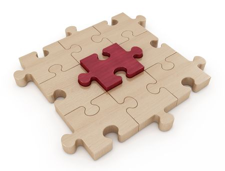 mahogany: wooden jigsaw puzzle with one  piece in mahogany - rendering Stock Photo