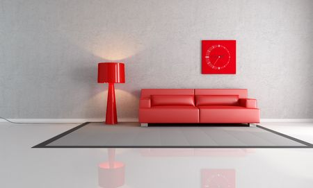 red couch in a minimalist lounge - rendering photo